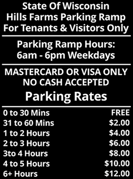 Table showing Hill Farms Parking Rates
